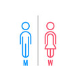 minimal thin line blue and pink wc icon vector image