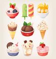 set of colorful ice creams vector image