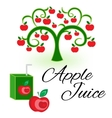 Apple juice packaging design template vector image