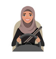 arab businesswoman driving a car arab woman vector image vector image