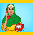 arabic woman in hijab talking on vintage phone vector image vector image