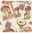 Autumn seamless texture of white mushrooms saffron vector image vector image