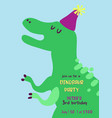 babirthday invitation card with funny dinosaur vector image vector image