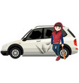 bad young teen broke the car vector image