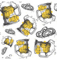 beer glass seamless pattern oktoberfest festival vector image