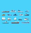 boats cartoon nautical ships passenger or cargo vector image