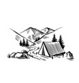 camping in nature near mountains travel theme vector image vector image