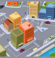 cartoon city traffic vector image vector image