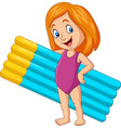 cartoon girl in a swimsuit holding mattress vector image