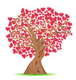 cartoon red heart tree vector image vector image