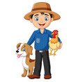 cartoon young farmer with hen and dog vector image vector image