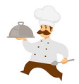chief cook or chef carry food tray or cloche vector image vector image