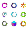 circle icons set cartoon style vector image