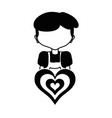 contour boy with hairstyle and heart icon vector image vector image