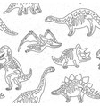 cute cartoon dinosaur skeletons silhouettes vector image
