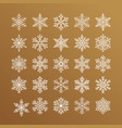 cute snowflakes collection isolated on gold vector image vector image