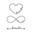 december - word with infinity symbol hand drawn vector image vector image