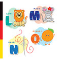 deutsch alphabet lion mouse stylus orange vector image