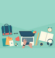 do homework on desktop with laptop banner back vector image