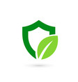 eco leaves shield logo icon design template vector image