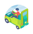 eco transport man driving ecologically clean car vector image vector image