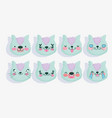 emojis kawaii cartoon faces funny cat set vector image vector image