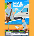 express mail delivery postman van and train vector image vector image