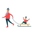 father carrying child on sleigh son and dad vector image