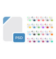 flat colorful file format icons set vector image vector image