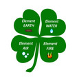 four-leaf clover the elements of the earth the vector image vector image