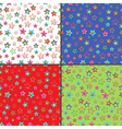 Four seamless patterns with colorful stars vector image