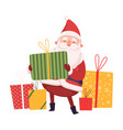 funny santa claus wit gift boxes cute christmas vector image vector image