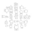 gesture icons set outline style vector image vector image