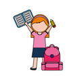 girl with backpack and book back to school vector image