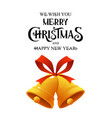 golden christmas bell with red ribbon jingle vector image vector image