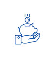 hand with money pig line icon concept hand with vector image