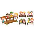 happy kids on seats and bridge vector image vector image