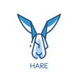 hare logo design blue label badge or emblem vector image