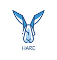 hare logo design blue label badge or emblem with vector image vector image