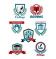 Heraldic emblems for school college university vector image vector image