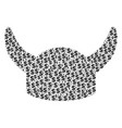 horned helmet collage of dollar and dots vector image vector image