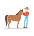 old farmer man caring for his horse farming and vector image vector image