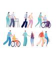 old people nursing smiling volunteers care of vector image