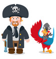 pirate captain and parrot cartoon characters man vector image