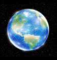 planet earth globe with network line connected vector image vector image