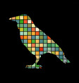 raven bird mosaic color silhouette animal vector image vector image