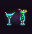set of cocktail neon emblem vector image