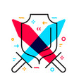 shield with red and blue sword on white vector image vector image