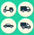 shipment icons set collection of truck skooter vector image vector image