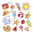 summer cute icon set vector image vector image